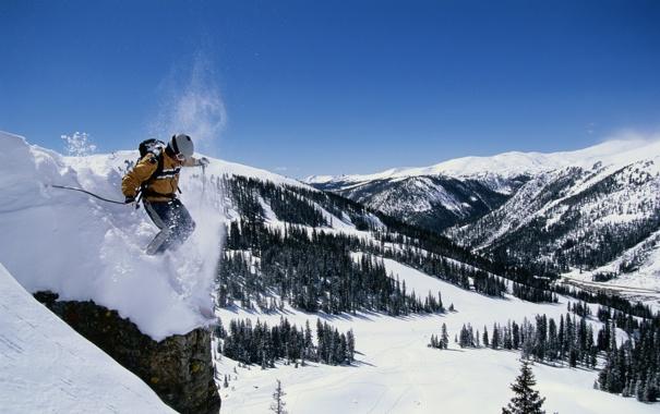 Фото обои скала, спуск, елки, лыжник