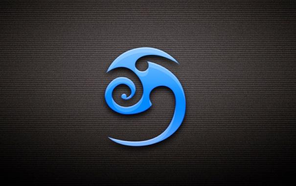 Фото обои голубой, знак, символ, тёмный фон