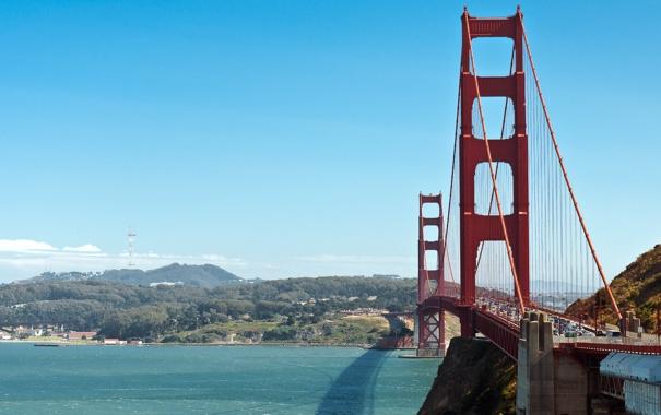 Фото обои море, небо, мост, океан, ворота, залив, Сан-Франциско