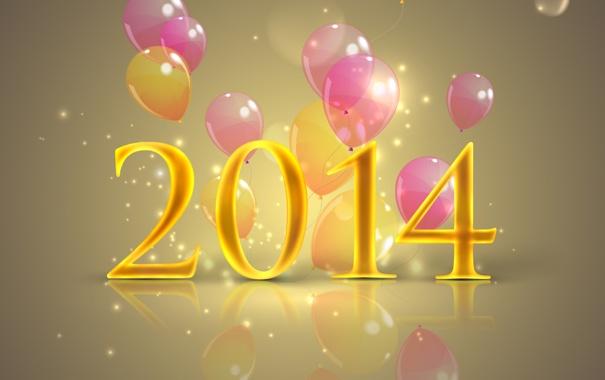 Фото обои отражение, фон, праздник, Новый год, воздушные шарики, New Year, 2014