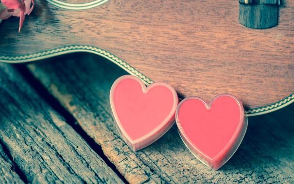 Фото обои сердце, гитара, love, vintage, heart, romantic