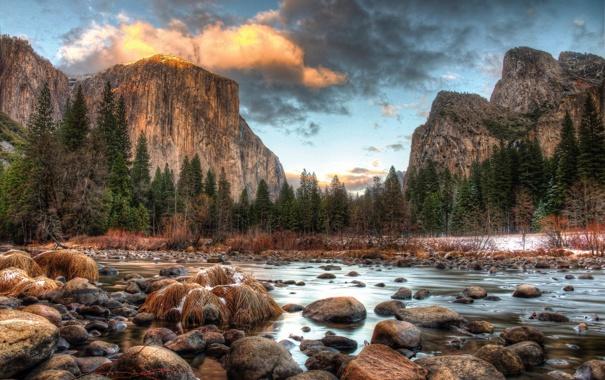 Фото обои зима, лес, горы, река, камни, Национальный парк Йосемити, Yosemite National Park
