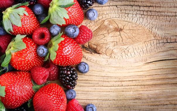 Фото обои черника, клубника, fresh, sweet, berries, ягоды