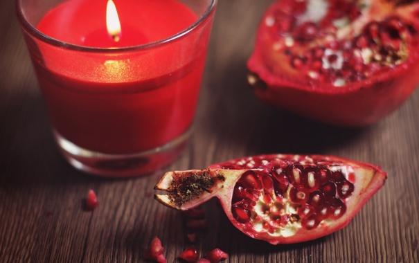 Фото обои свеча, зерна, гранат