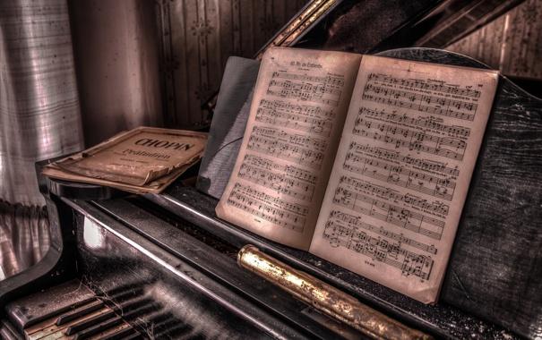 Фото обои ноты, музыка, пианино