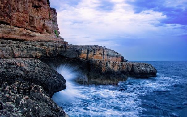 Фото обои море, волны, небо, вода, капли, брызги, природа