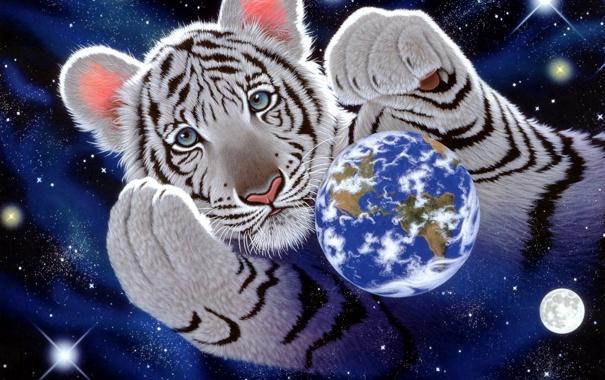 Фото обои планета, арт, Земля, тигры, William Schimmel