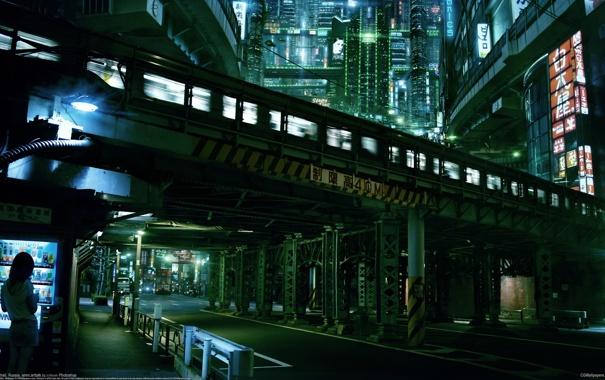 Фото обои дорога, ночь, мост, город, метро, Токио, Akimov Mikhail