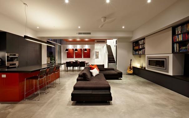 Фото обои стол, лампы, диван, книги, гитара, стулья, кухня
