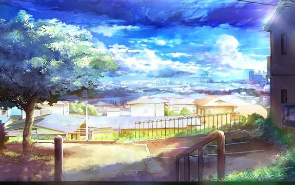 Фото обои дорога, зелень, лето, солнце, дома, двор