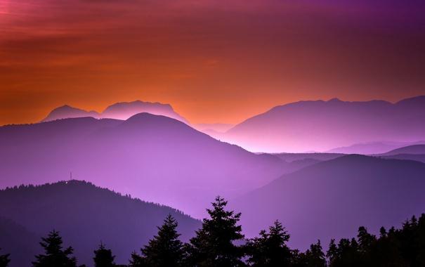 Фото обои небо, горы, ночь, природа