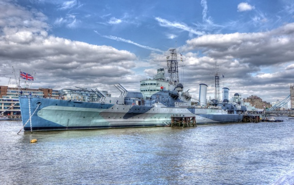 Фото обои museum ship, London, River Thames, HMS Belfast