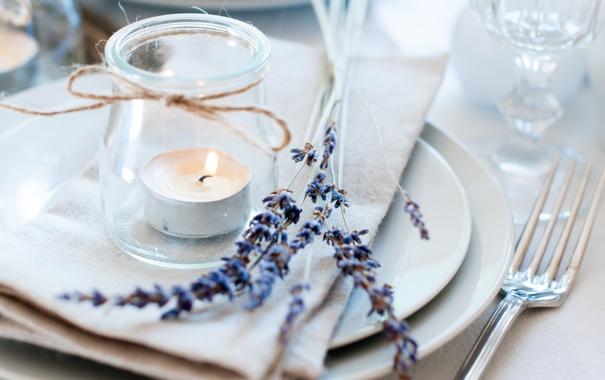 Фото обои цветы, свечи, лаванда