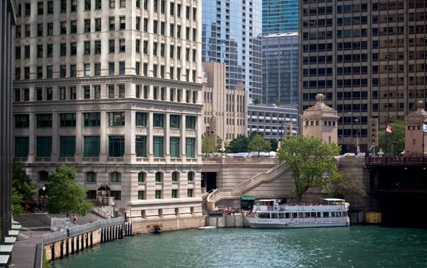 Фото обои небо, здания, небоскребы, USA, америка, чикаго, Chicago