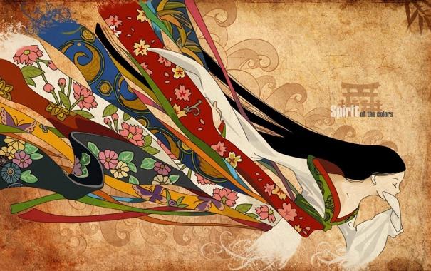 Фото обои цвета, девушка, цветы, абстракция, полосы, надпись, одежда