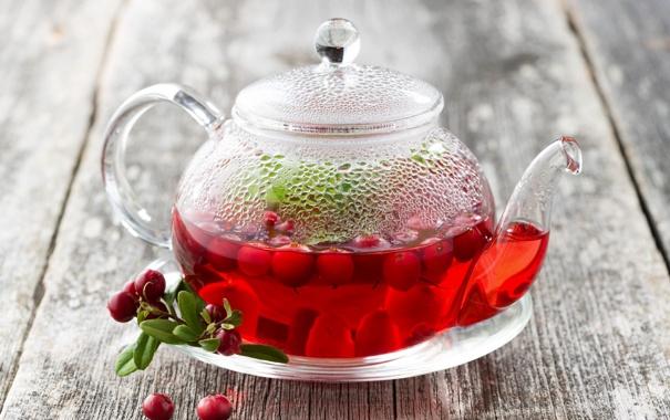 Фото обои чай, чайник, напиток, брусника