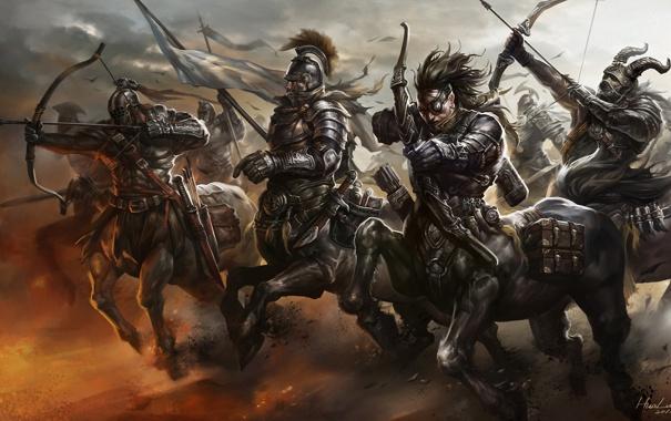 Фото обои оружие, движение, армия, лук, арт, бег, лучник