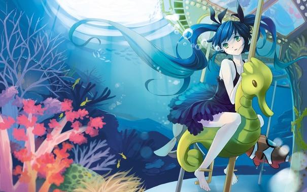 Фото обои девушка, пузырьки, кораллы, арт, морской конек, карусель, vocaloid