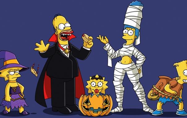 Фото обои праздник, семья, Halloween, Simpsons, мульт, симсоны