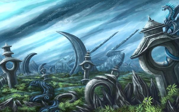 Фото обои небо, трава, звезды, пейзаж, дракон, арт, сооружения