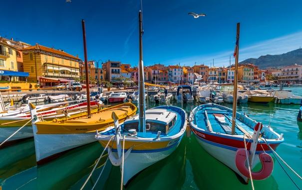 Фото обои Франция, дома, яхты, лодки, гавань, Лазурный берег, Кассис