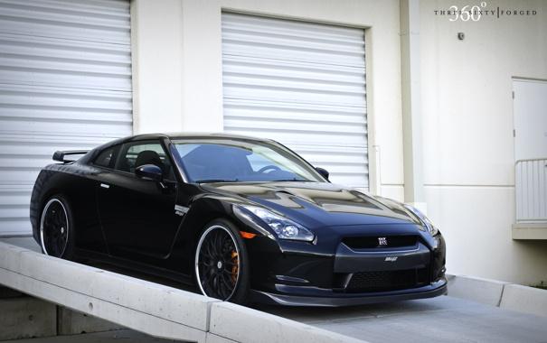 Фото обои чёрный, Nissan, GT-R, black, ниссан, передняя часть, 360 three sixty forged
