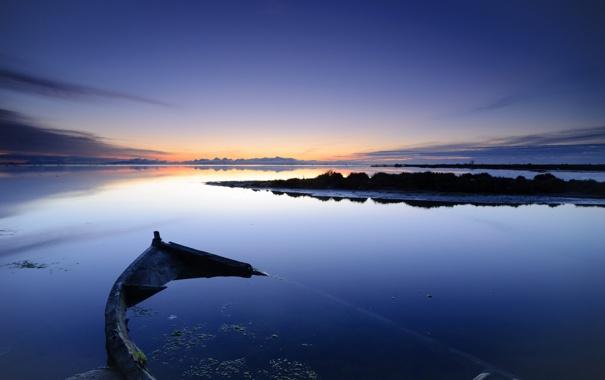 Фото обои пейзаж, ночь, озеро, лодка
