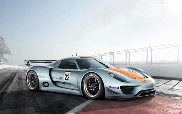 Фото обои Concept, небо, Porsche, 918, гоночный трек, RSR