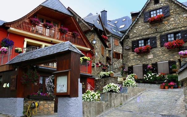 Фото обои дорога, небо, цветы, улица, дома, Город, Испания