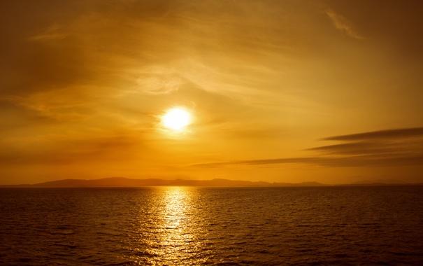 Фото обои море, закат, природа