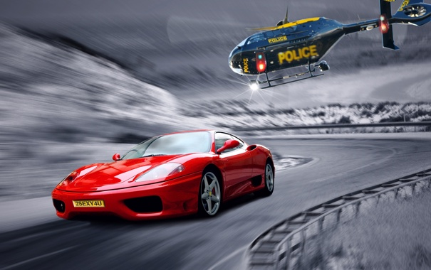 Фото обои дорога, полиция, погоня, вертолет, Ferrari, классика, need for speed 3