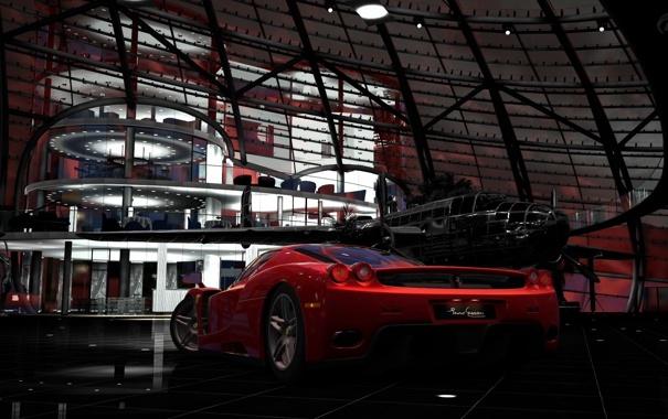 Фото обои машина, самолет, Gran Turismo, Red Bull Hangar
