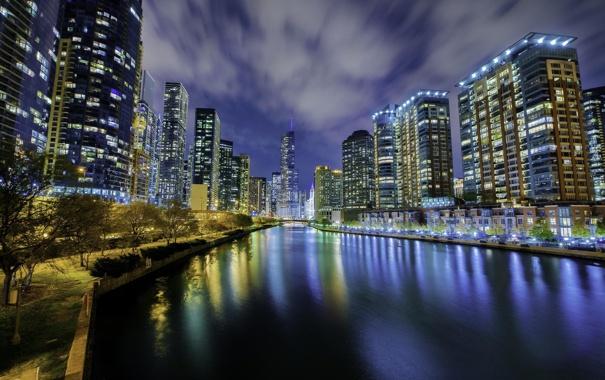 Фото обои ночь, огни, река, небоскребы, Чикаго, USA, Chicago