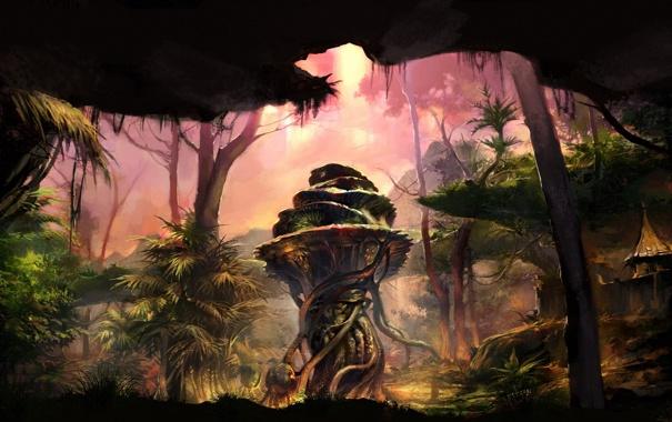 Фото обои лес, деревья, скала, растения, колонна, поселение, грот