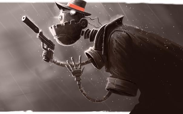 Фото обои оружие, дождь, робот, шляпа, арт, убийца