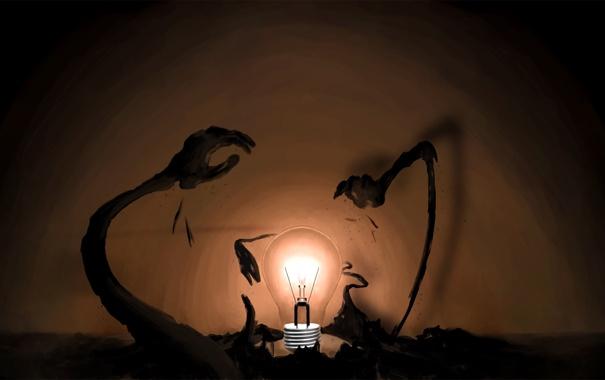 Фото обои свет, фантазия, фантастика, рисунок, руки, арт. лампочка