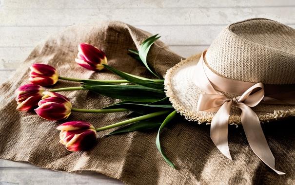 Фото обои цветы, шляпа, лента, тюльпаны