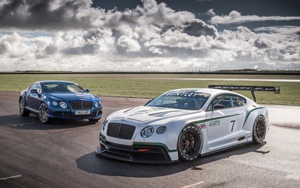 Фото обои небо, облака, Bentley, Континенталь, Бентли, суперкар, болид