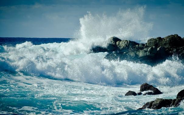 Фото обои волны, пена, вода, брызги, камни, океан, скалы