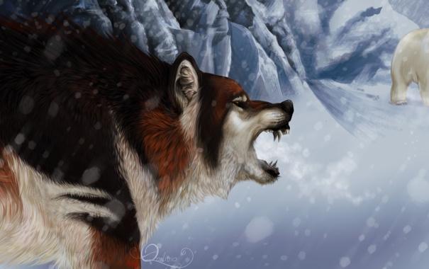 Фото обои зима, животные, взгляд, снег, волк, арт, белый медведь
