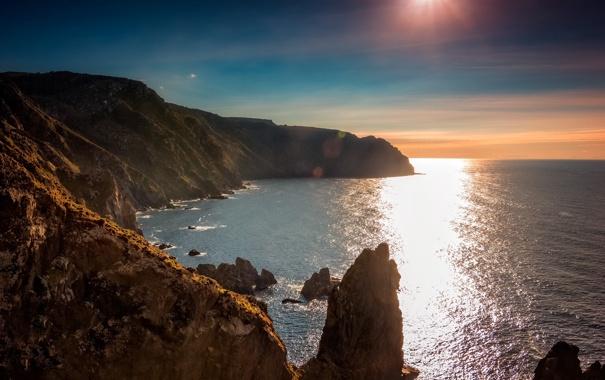 Фото обои море, солнце, блики, скалы