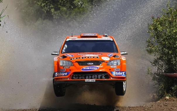 Фото обои Ford, Вода, Оранжевый, Брызги, Focus, ралли, WRC