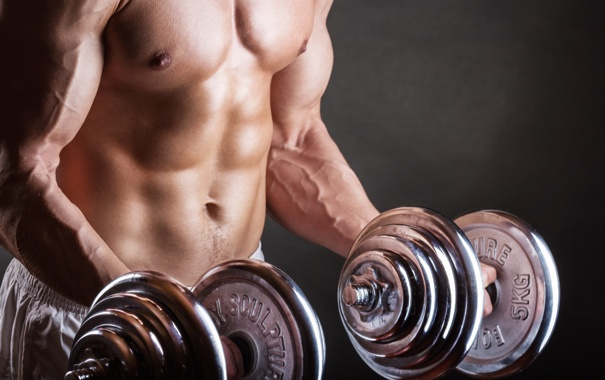 Фото обои metal, muscles, arms, dumbbell, bodybuilder