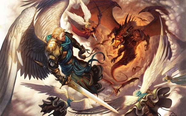 Фото обои облака, дракон, крылья, ангелы, арт, битва, в небе