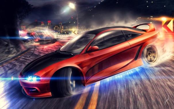 Фото обои дорога, машины, ночь, город, гонка, скорость, полиция