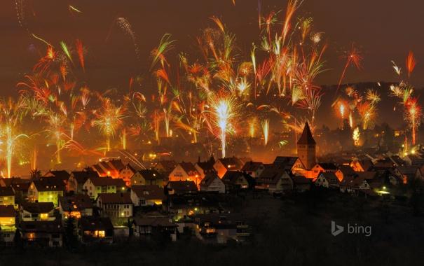 Фото обои огни, праздник, новый год, дома, фейерверк, германия, korb