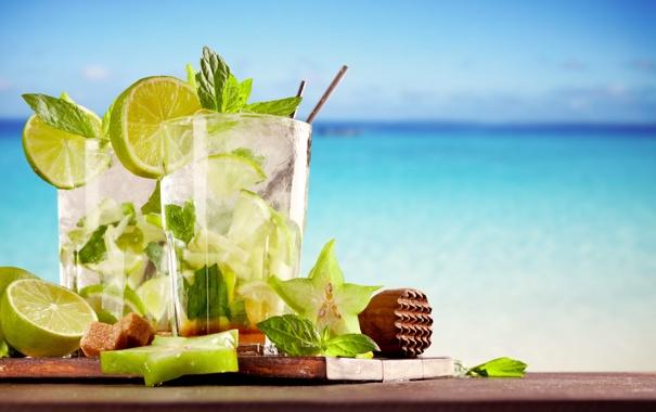 Фото обои море, пляж, лайм, напиток, beach, sea, drink