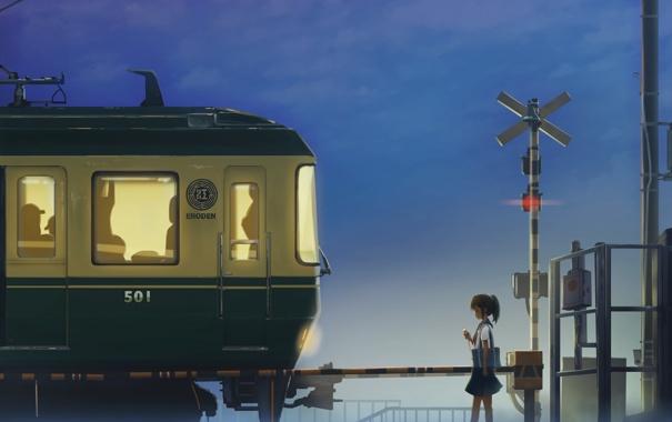 Фото обои девушка, поезд, аниме, наушники, арт, плеер, форма