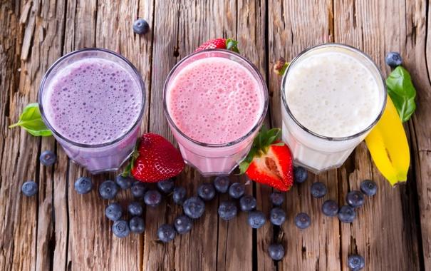 Фото обои ягоды, черника, клубника, фрукты, банан, молочный коктейль