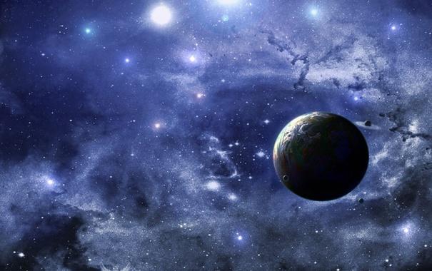 Фото обои небо, планета, живопись, спутники